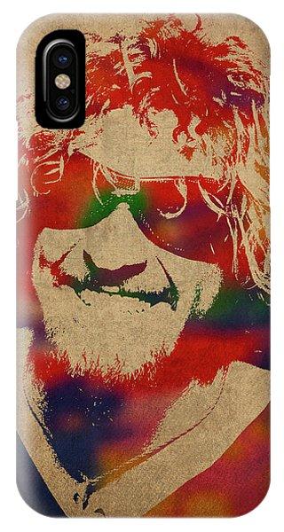 Van Halen iPhone Case - Sammy Hagar Van Halen Watercolor Portrait by Design Turnpike