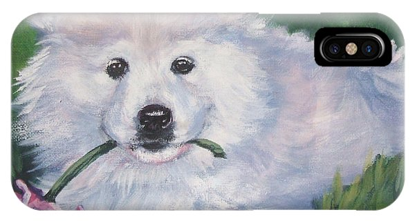 Pup iPhone Case - Samoyed Pup With Peony by Lee Ann Shepard