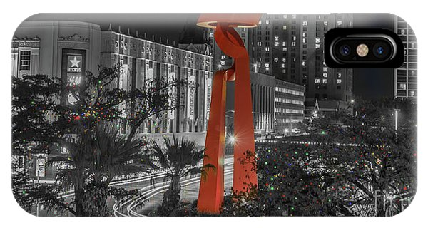 San Antonio La Antorcha De La Amistad Sculpture In Selective Color IPhone Case