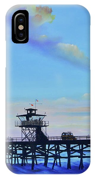 IPhone Case featuring the painting San Clemente High Surf by Mary Scott