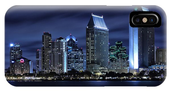 City Scenes iPhone Case - San Diego Skyline At Night by Larry Marshall