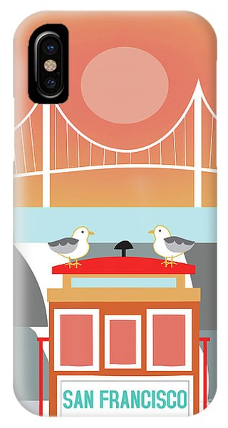 Trolley Car iPhone Case - San Francisco California Vertical Skyline - Seagulls On Trolley by Karen Young