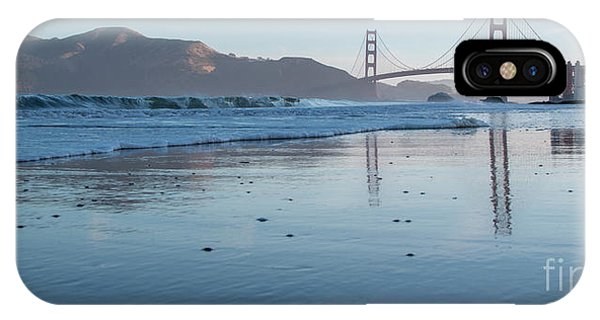 San Francisco Golden Gate Bridge Reflected On Baker's Beach Wet  IPhone Case