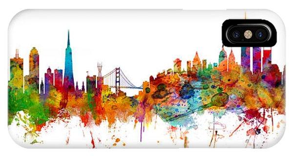 San Francisco iPhone Case - San Francisco New York Skyline Mashup by Michael Tompsett