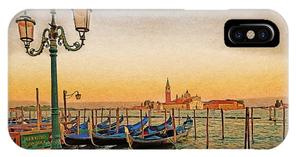 IPhone Case featuring the digital art San Giorgio Maggiore Venice Gondolas by Anthony Murphy