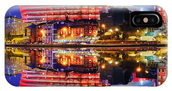 San Mames Stadium At Night With Water Reflections IPhone Case