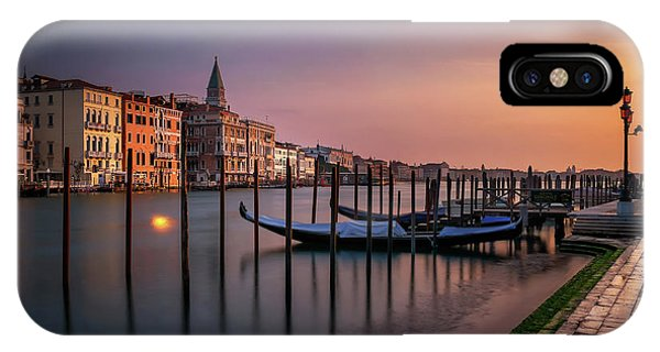 San Marco Campanile With Gondolas At Grand Canal During Calm Sunrise, Venice, Italy, Europe. IPhone Case