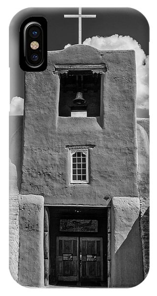 Adobe iPhone Case - San Miguel Mission Black And White by Garry Gay