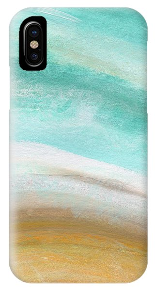 Aqua iPhone Case - Sand And Saltwater- Abstract Art By Linda Woods by Linda Woods