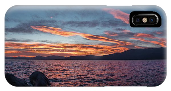 Sand Harbor Sunset Pano2 IPhone Case