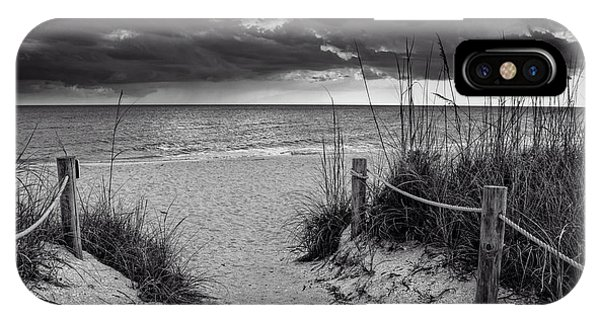 Sanibel Island Beach Access In Black And White IPhone Case