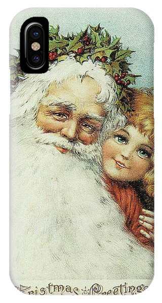 Santa And His Little Admirer IPhone Case