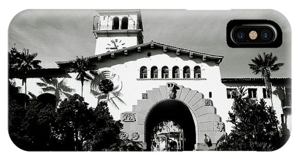 Barbara iPhone Case - Santa Barbara Courthouse Black And White-by Linda Woods by Linda Woods