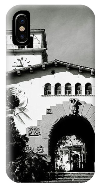 Santa Barbara Courthouse Black And White-by Linda Woods IPhone Case