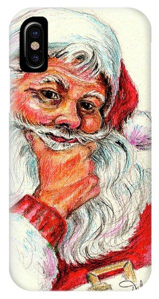Santa Checking Twice Christmas Image IPhone Case