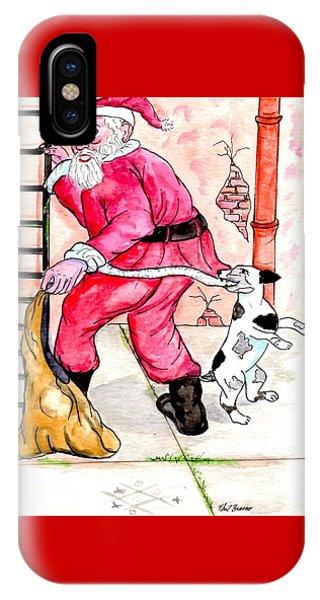 Santa Climbs The Ladder IPhone Case