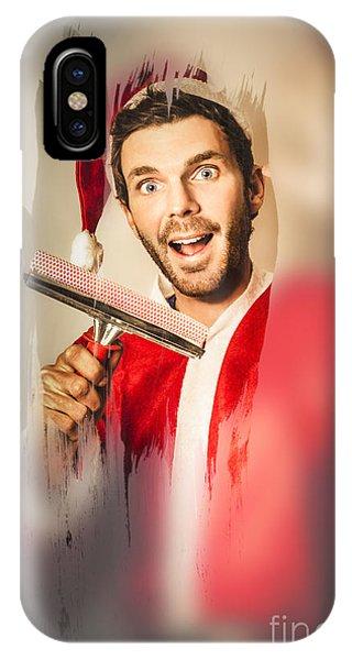 Window Shopping iPhone Case - Santa Elf Preparing For Christmas by Jorgo Photography - Wall Art Gallery