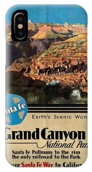 Santa Fe Train To Grand Canyon - Vintage Poster Folded IPhone Case