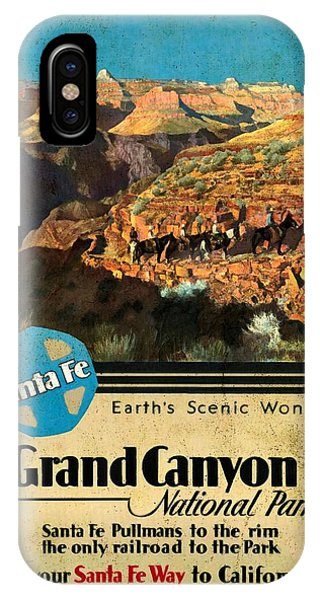 Santa Fe Train To Grand Canyon - Vintage Poster Vintagelized IPhone Case