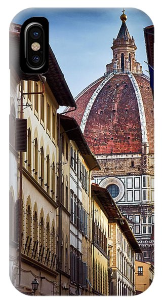 Santa Maria Del Fiore From Via Dei Servi Street In Florence, Italy IPhone Case