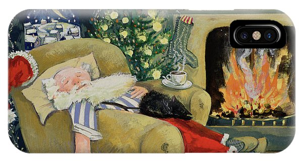 Clock iPhone Case - Santa Sleeping By The Fire by David Cooke