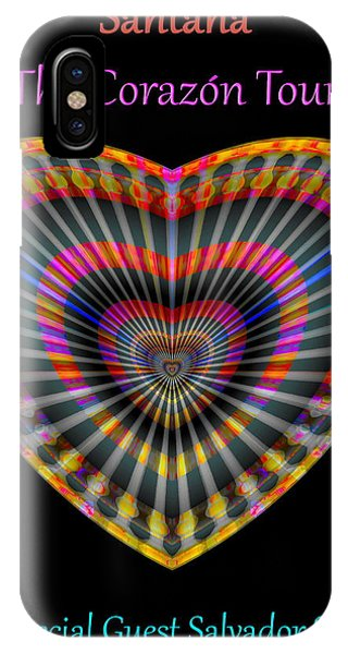 IPhone Case featuring the digital art Santana The Corazon Tour by Visual Artist Frank Bonilla