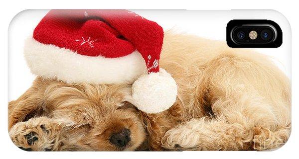 Santa's Sleepy Spaniel IPhone Case
