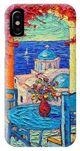 Table For Two iPhone Case - Santorini Dream Greece Contemporary Impressionist Palette Knife Oil Painting By Ana Maria Edulescu by Ana Maria Edulescu