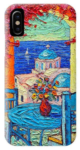 Santorini Dream Greece Contemporary Impressionist Palette Knife Oil Painting By Ana Maria Edulescu IPhone Case