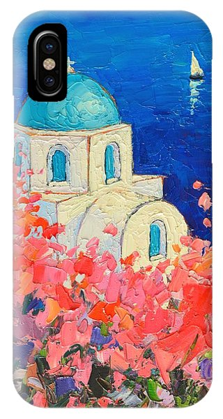 Santorini Impression - Full Bloom In Santorini Greece IPhone Case
