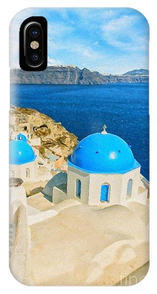 Santorini Oia Church Caldera View Digital Painting IPhone Case
