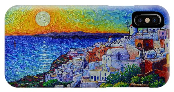 Santorini Oia Sunset Modern Impressionist Impasto Palette Knife Oil Painting By Ana Maria Edulescu IPhone Case