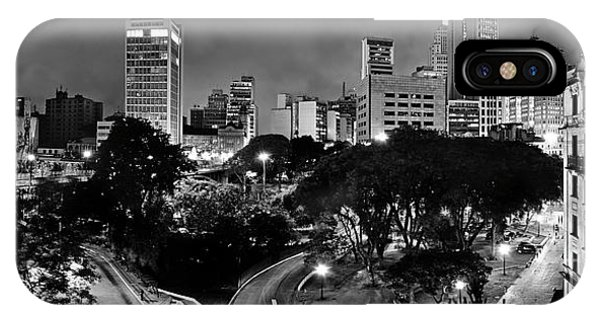 Sao Paulo Downtown At Night In Black And White - Correio Square IPhone Case