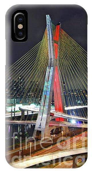 Sao Paulo Skyline - Ponte Estaiada Octavio Frias De Oliveira Wit IPhone Case
