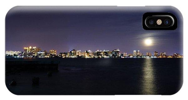 Sarasota Cityscape-night-full Moon 2 IPhone Case