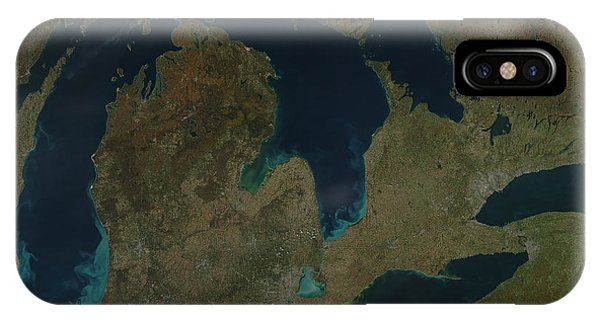 Lake Superior iPhone Case - Satellite View Of The Great Lakes, Usa by Stocktrek Images