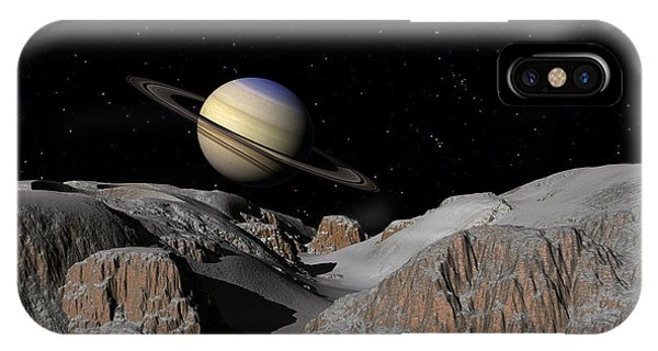 Saturn From The Moon Dione IPhone Case