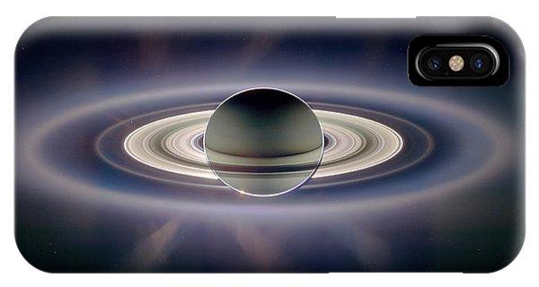 Saturn Silhouetted, Cassini Image IPhone Case