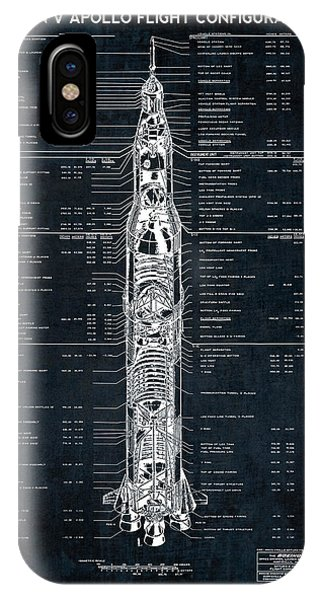 Saturn V Apollo Moon Mission Rocket Blueprint  1967 IPhone Case