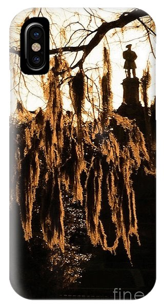 IPhone Case featuring the photograph Savannah Confederate Moss Sunset by Aberjhani's Official Postered Chromatic Poetics