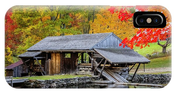 Sawmill Reflection, Autumn In New Hampshire IPhone Case