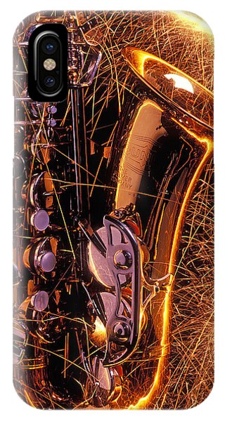 Saxophone iPhone X Case - Sax With Sparks by Garry Gay