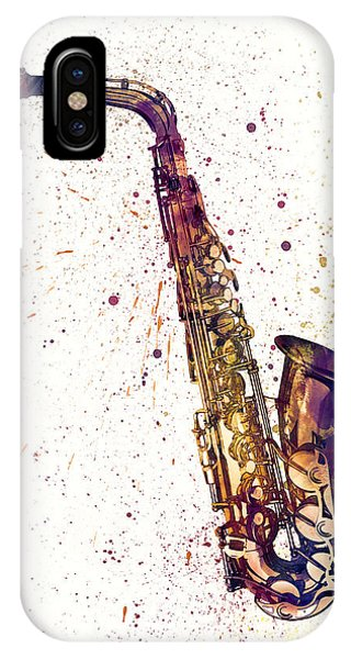 Musical iPhone Case - Saxophone Abstract Watercolor by Michael Tompsett