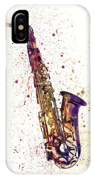 Saxophone iPhone X Case - Saxophone Abstract Watercolor by Michael Tompsett
