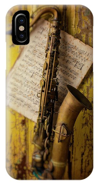 Saxophone Hanging On Old Wall IPhone Case