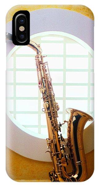 Saxophone In Round Window IPhone Case