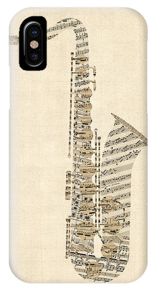 Saxophone iPhone X Case - Saxophone Old Sheet Music by Michael Tompsett