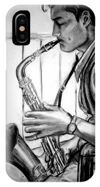 Saxophone Player Phone Case by Laura Rispoli