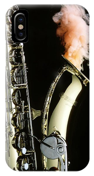 Saxophone iPhone X Case - Saxophone With Smoke by Garry Gay