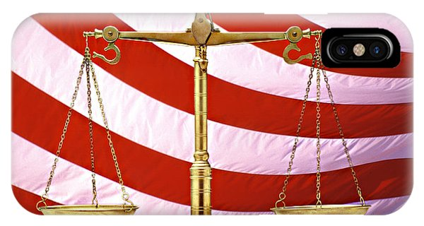 Fairness iPhone Case - Scales Of Justice American Flag by Panoramic Images